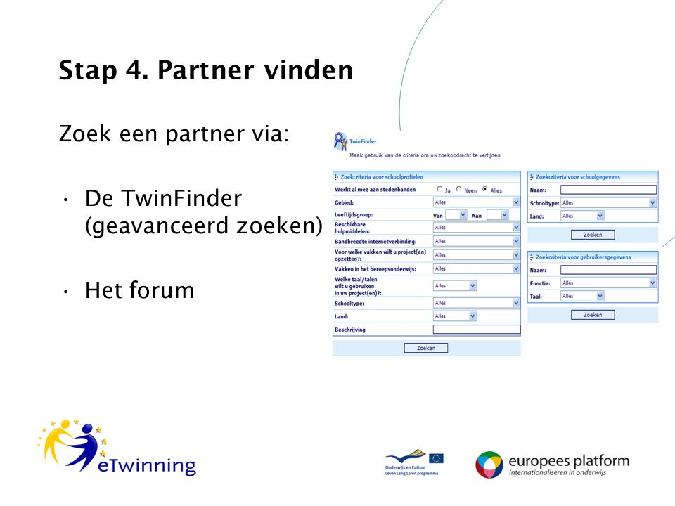 Stap 4. Partner vinden Zoek een partner via: