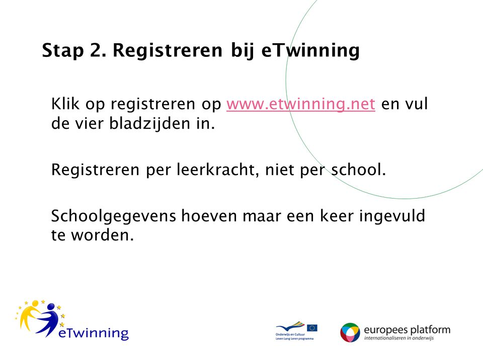 Stap 2. Registreren bij eTwinning