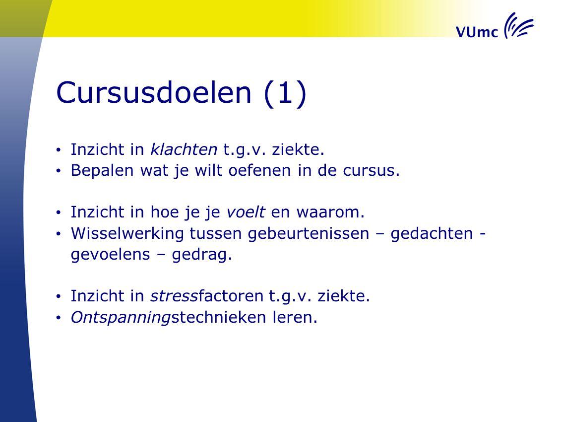 Cursusdoelen (1) Inzicht in klachten t.g.v. ziekte.