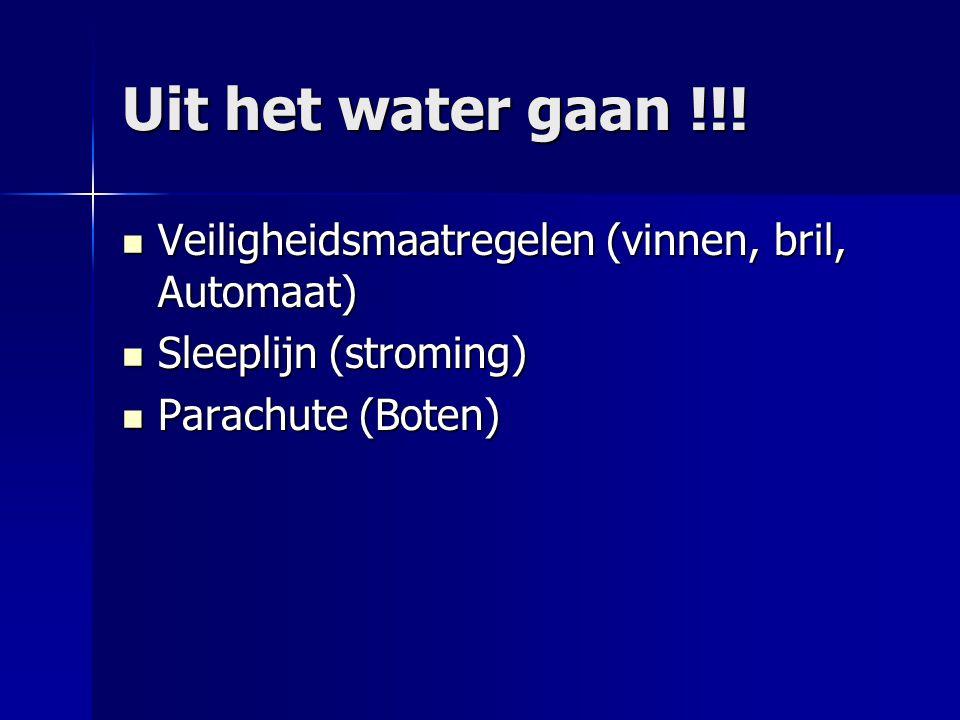 Uit het water gaan !!! Veiligheidsmaatregelen (vinnen, bril, Automaat)