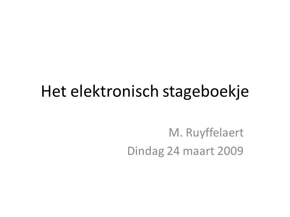 Het elektronisch stageboekje