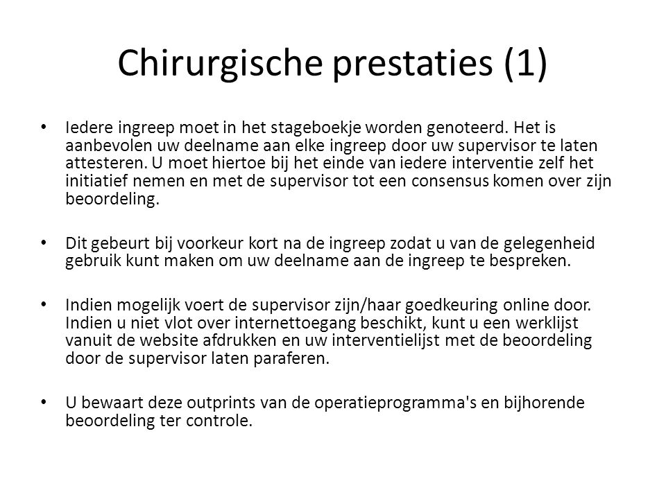 Chirurgische prestaties (1)