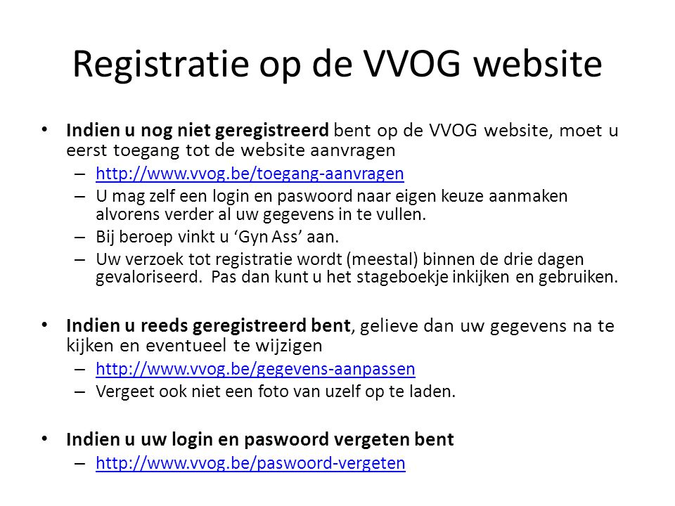Registratie op de VVOG website
