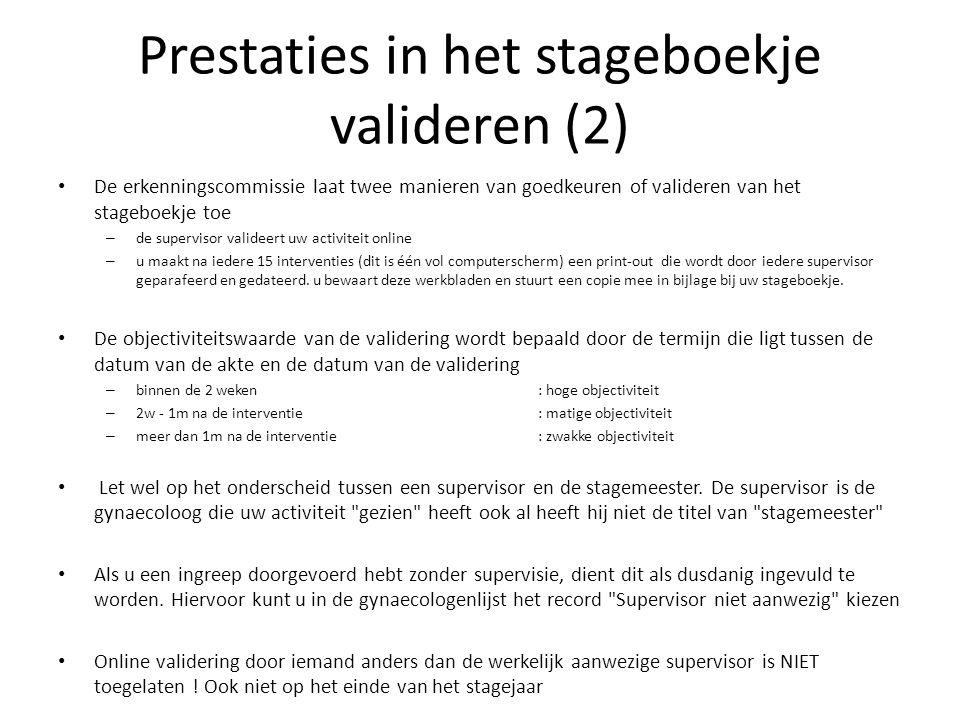 Prestaties in het stageboekje valideren (2)