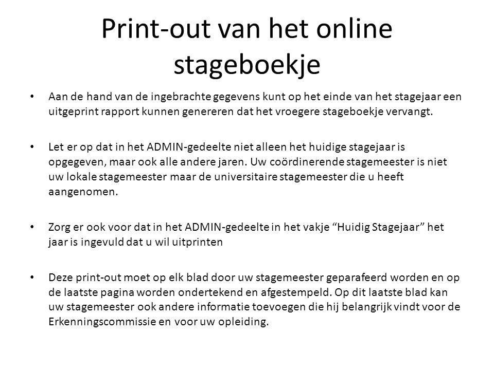 Print-out van het online stageboekje