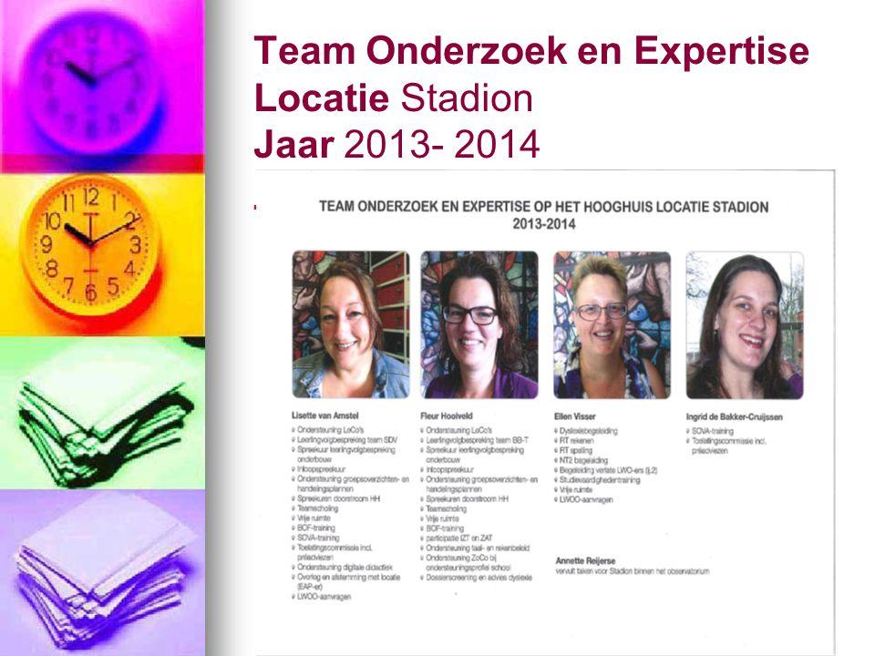 Team Onderzoek en Expertise Locatie Stadion Jaar 2013- 2014