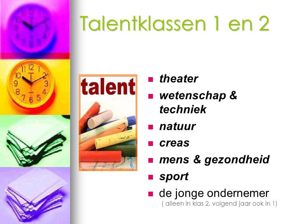 Talentklassen 1 en 2 theater wetenschap & techniek natuur creas
