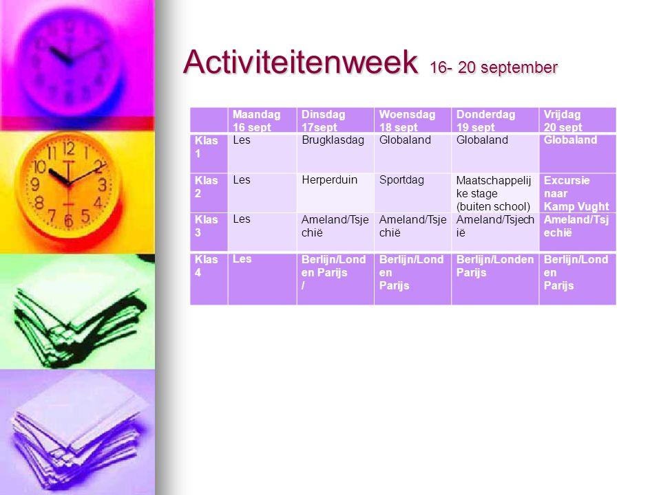 Activiteitenweek 16- 20 september