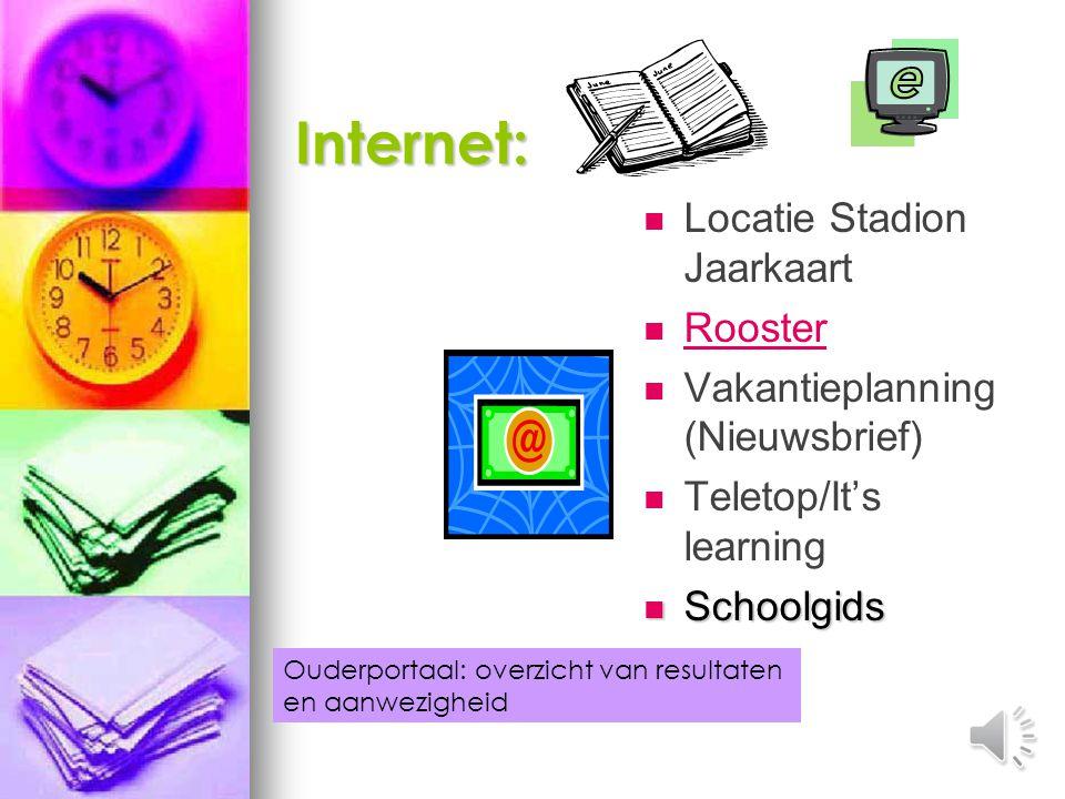 Internet: Locatie Stadion Jaarkaart Rooster
