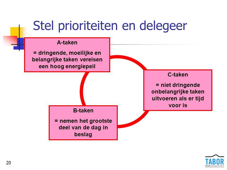 Stel prioriteiten en delegeer