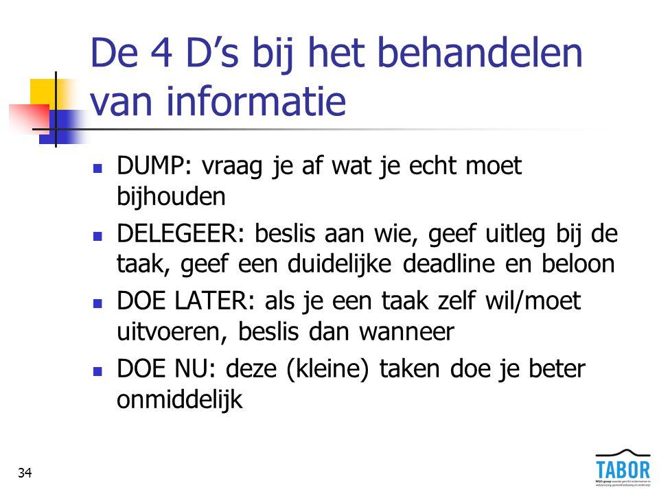 De 4 D's bij het behandelen van informatie
