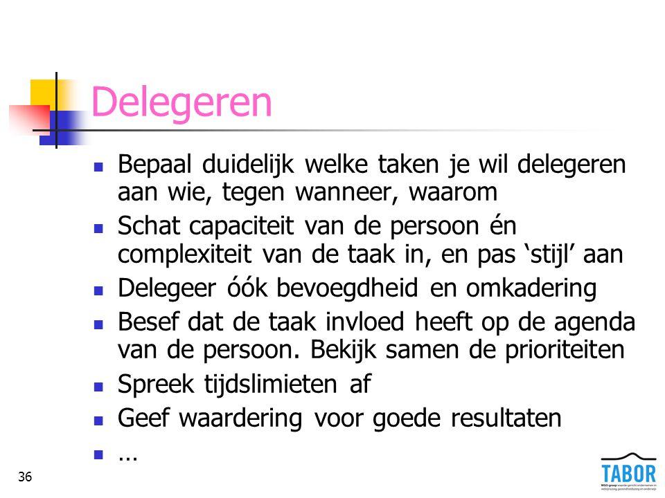 Delegeren Bepaal duidelijk welke taken je wil delegeren aan wie, tegen wanneer, waarom.
