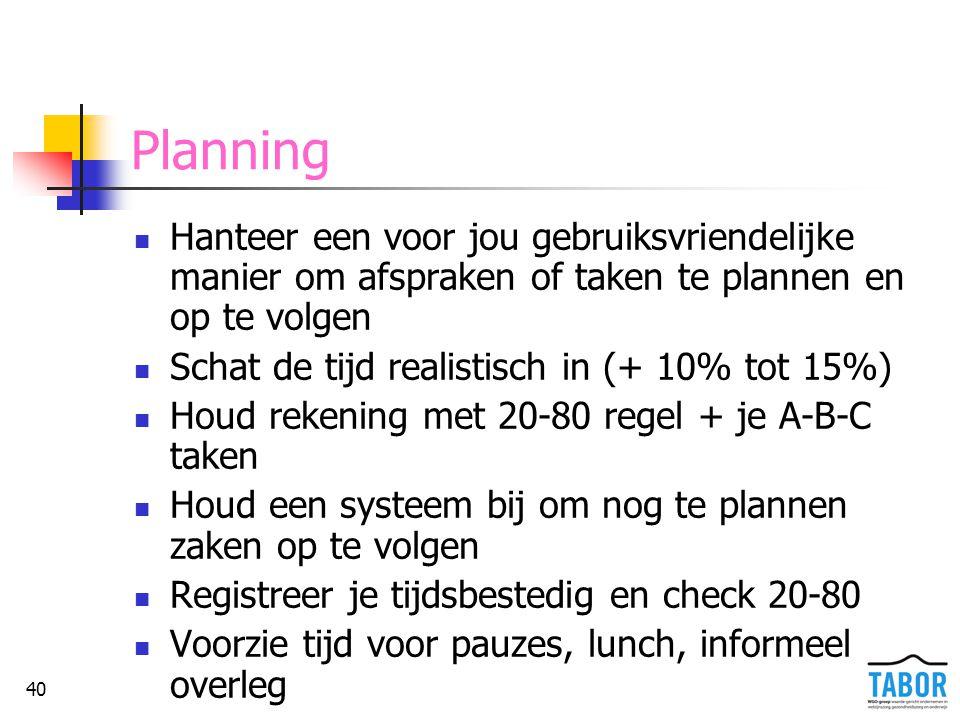 Planning Hanteer een voor jou gebruiksvriendelijke manier om afspraken of taken te plannen en op te volgen.