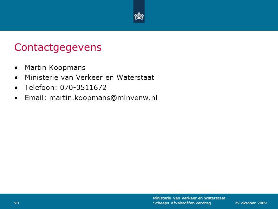 Contactgegevens Martin Koopmans Ministerie van Verkeer en Waterstaat