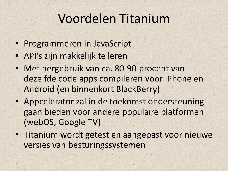 Voordelen Titanium Programmeren in JavaScript