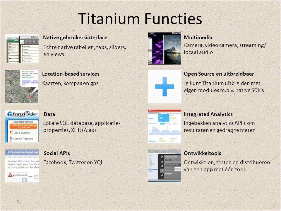 Titanium Functies Native gebruikersinterface Multimedia