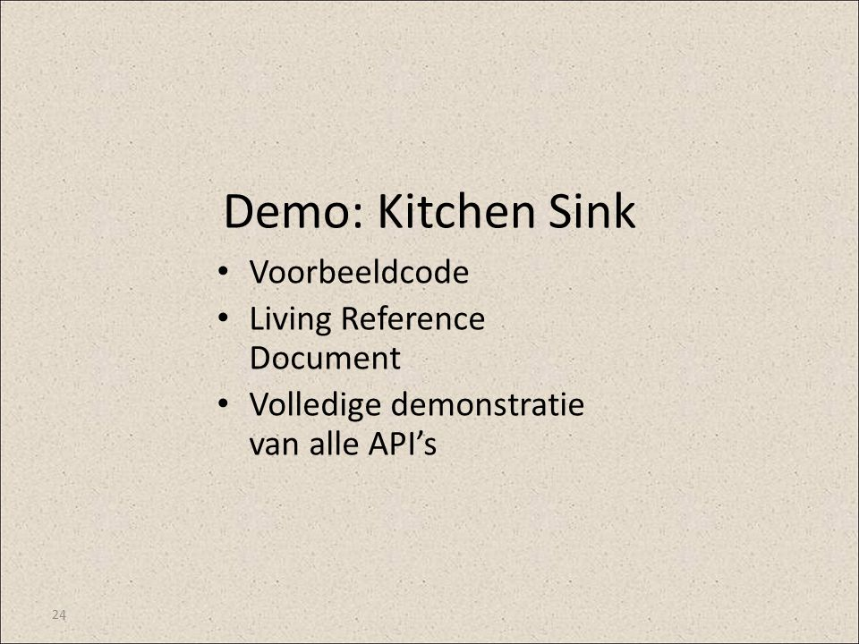 Demo: Kitchen Sink Voorbeeldcode Living Reference Document
