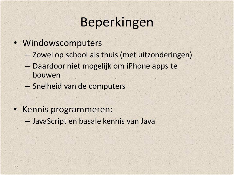 Beperkingen Windowscomputers Kennis programmeren: