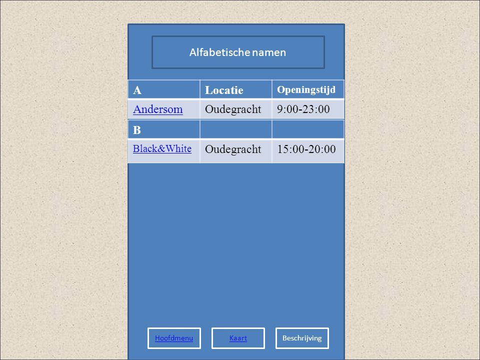 Alfabetische namen A Locatie Andersom Oudegracht 9:00-23:00 B