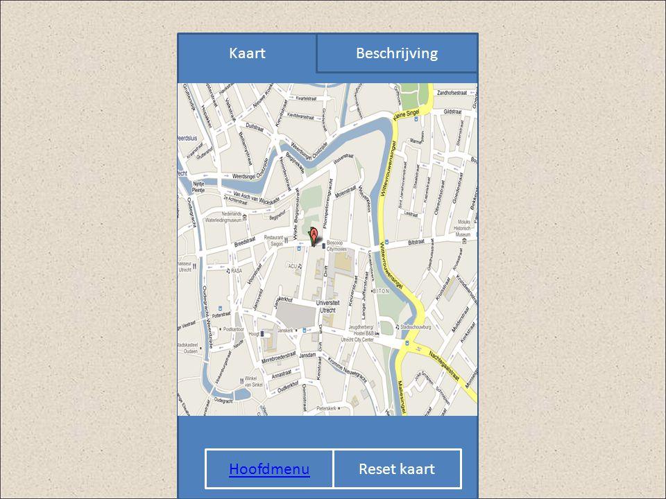 Kaart Beschrijving KAART Hoofdmenu Reset kaart