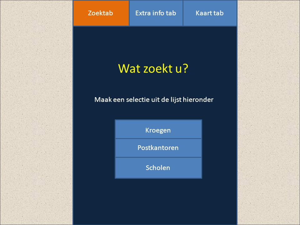 Wat zoekt u Zoektab Extra info tab Kaart tab