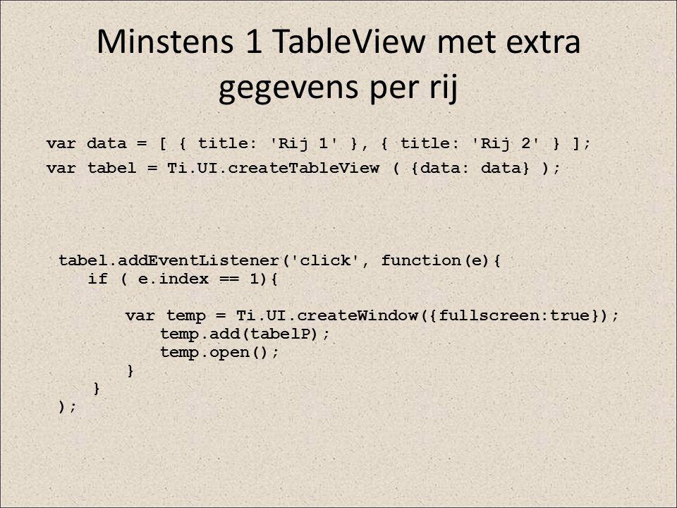 Minstens 1 TableView met extra gegevens per rij