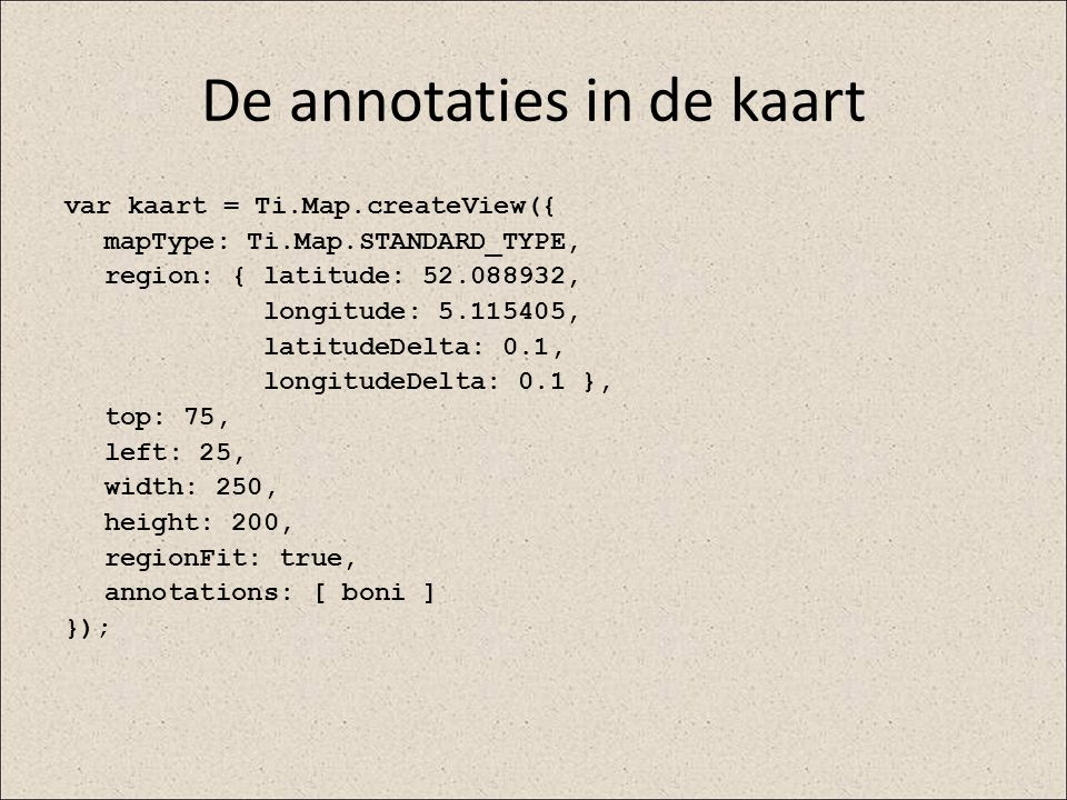 De annotaties in de kaart