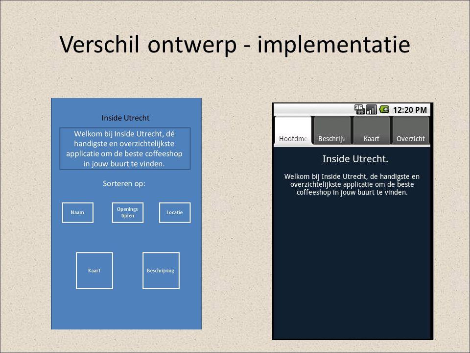 Verschil ontwerp - implementatie