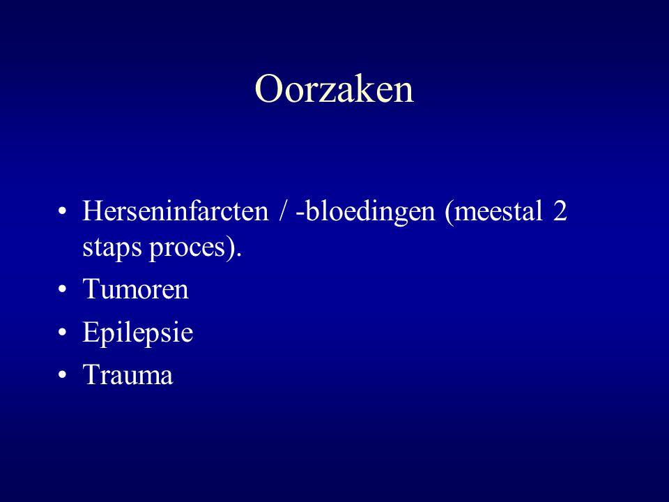 Oorzaken Herseninfarcten / -bloedingen (meestal 2 staps proces).