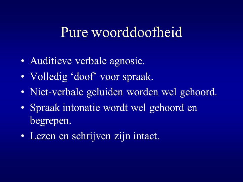 Pure woorddoofheid Auditieve verbale agnosie.