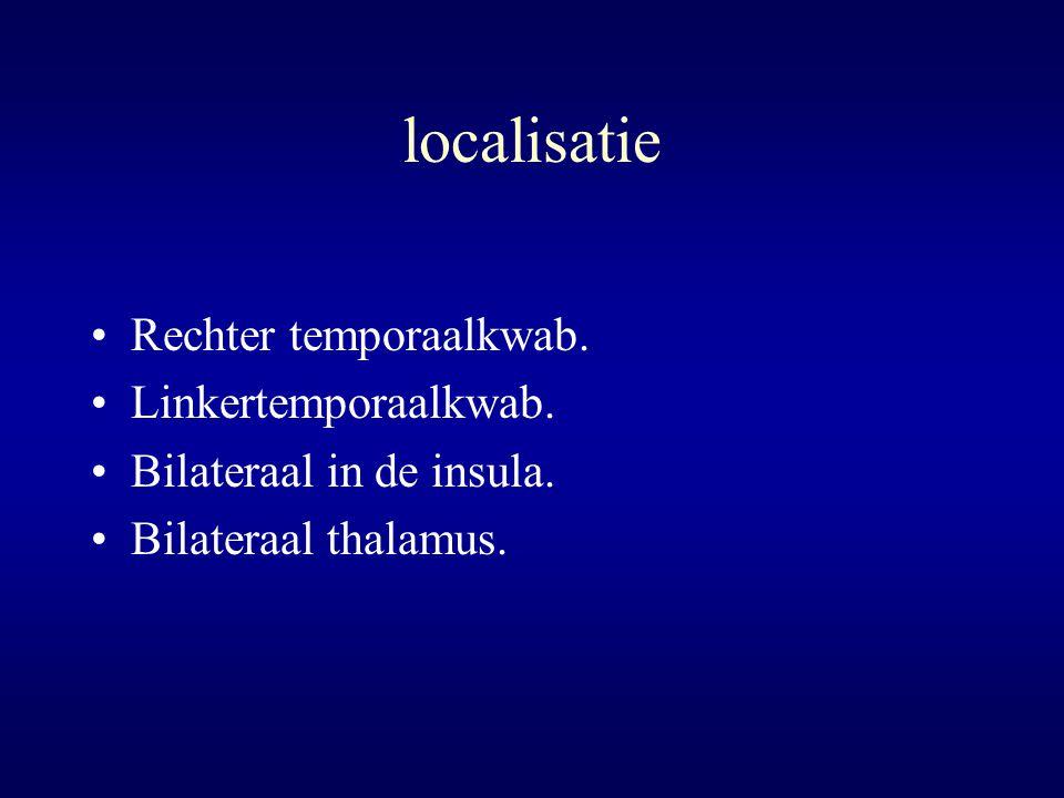 localisatie Rechter temporaalkwab. Linkertemporaalkwab.