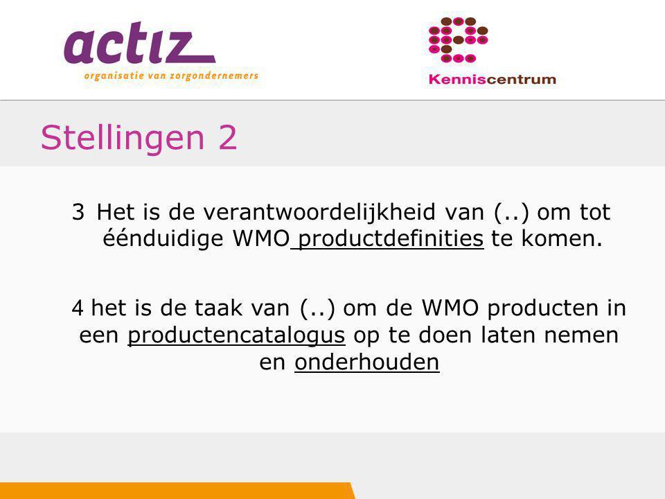 Stellingen 2 3 Het is de verantwoordelijkheid van (..) om tot éénduidige WMO productdefinities te komen.