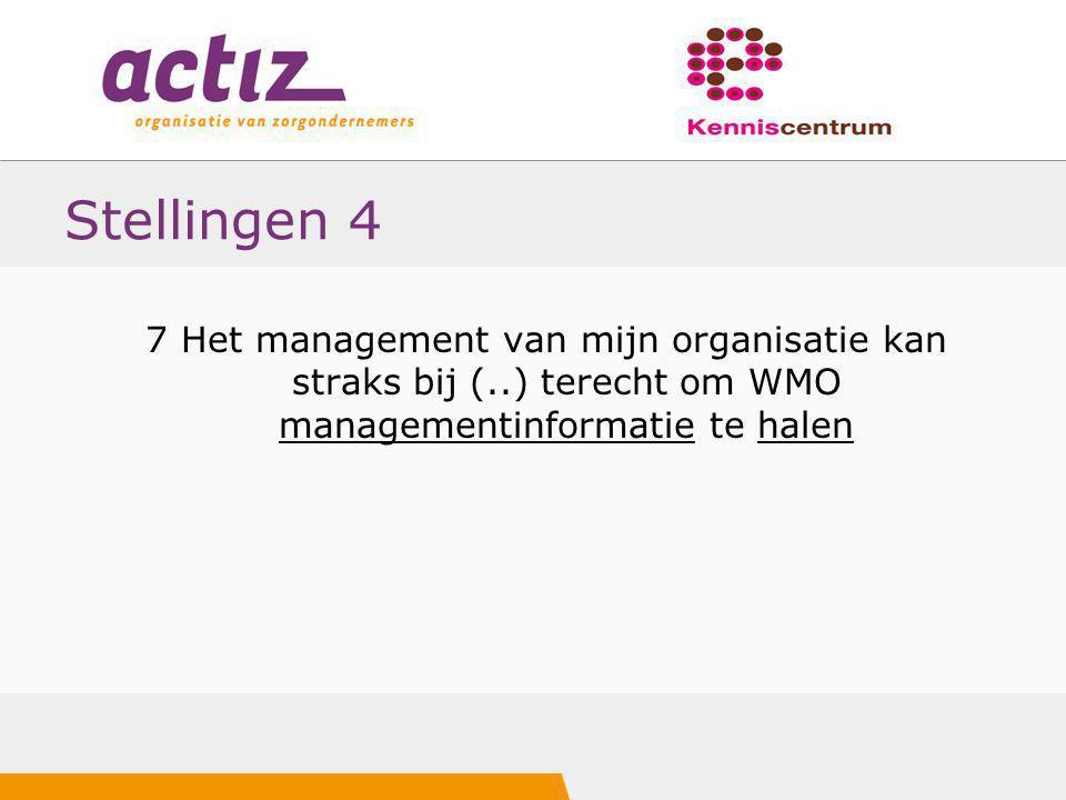 Stellingen 4 7 Het management van mijn organisatie kan straks bij (..) terecht om WMO managementinformatie te halen.