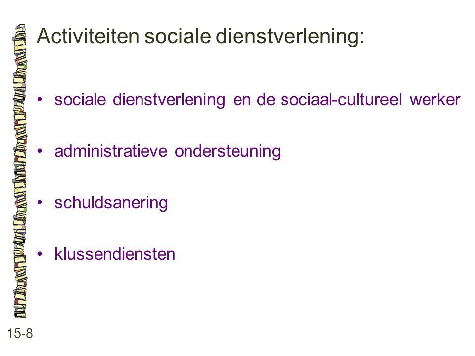 Activiteiten sociale dienstverlening:
