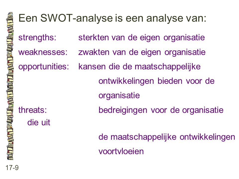Een SWOT-analyse is een analyse van: