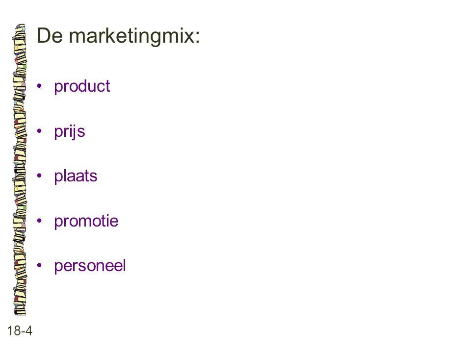 De marketingmix: product prijs plaats promotie personeel 18-4