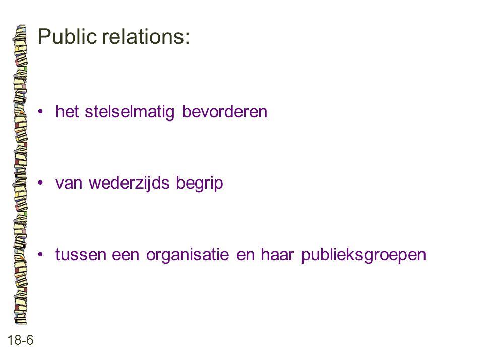 Public relations: • het stelselmatig bevorderen