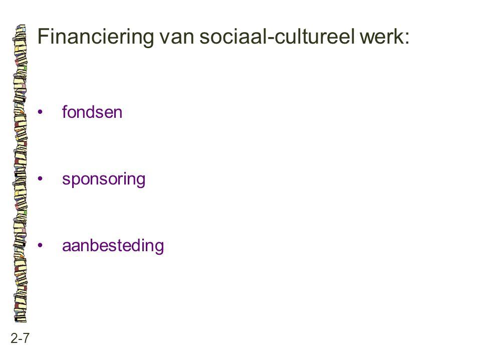 Financiering van sociaal-cultureel werk: