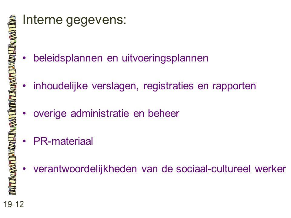 Interne gegevens: • beleidsplannen en uitvoeringsplannen