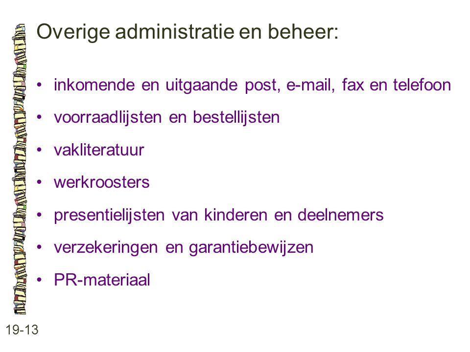 Overige administratie en beheer: