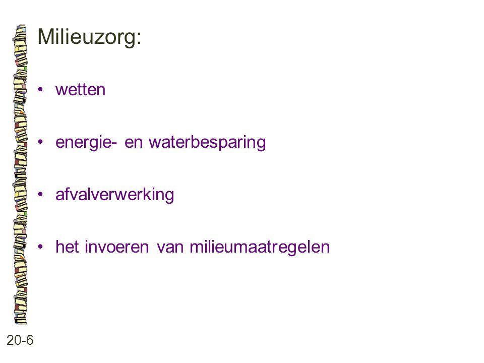 Milieuzorg: • wetten • energie- en waterbesparing • afvalverwerking