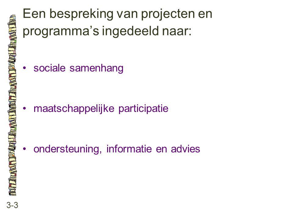 Een bespreking van projecten en programma's ingedeeld naar: