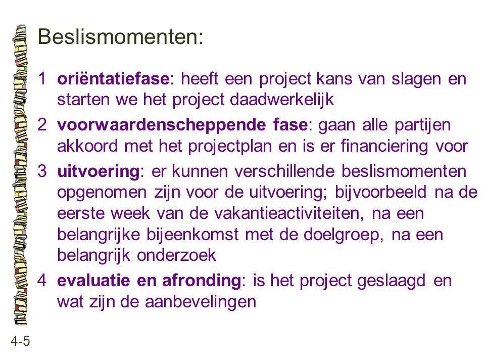 Beslismomenten: 1 oriëntatiefase: heeft een project kans van slagen en starten we het project daadwerkelijk.