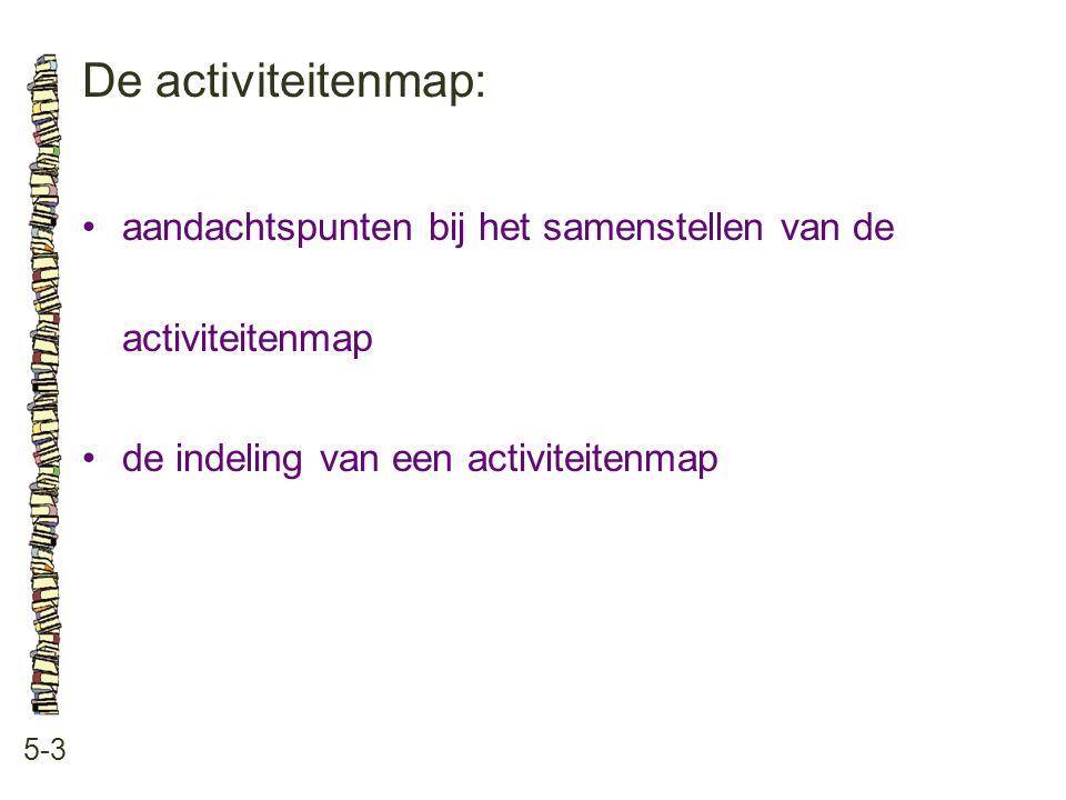 De activiteitenmap: • aandachtspunten bij het samenstellen van de activiteitenmap. • de indeling van een activiteitenmap.