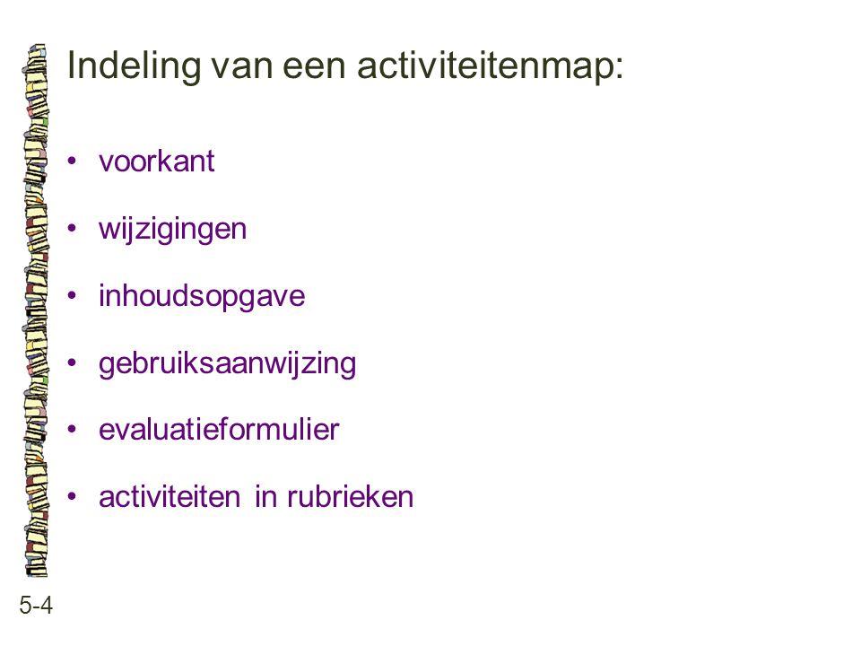 Indeling van een activiteitenmap: