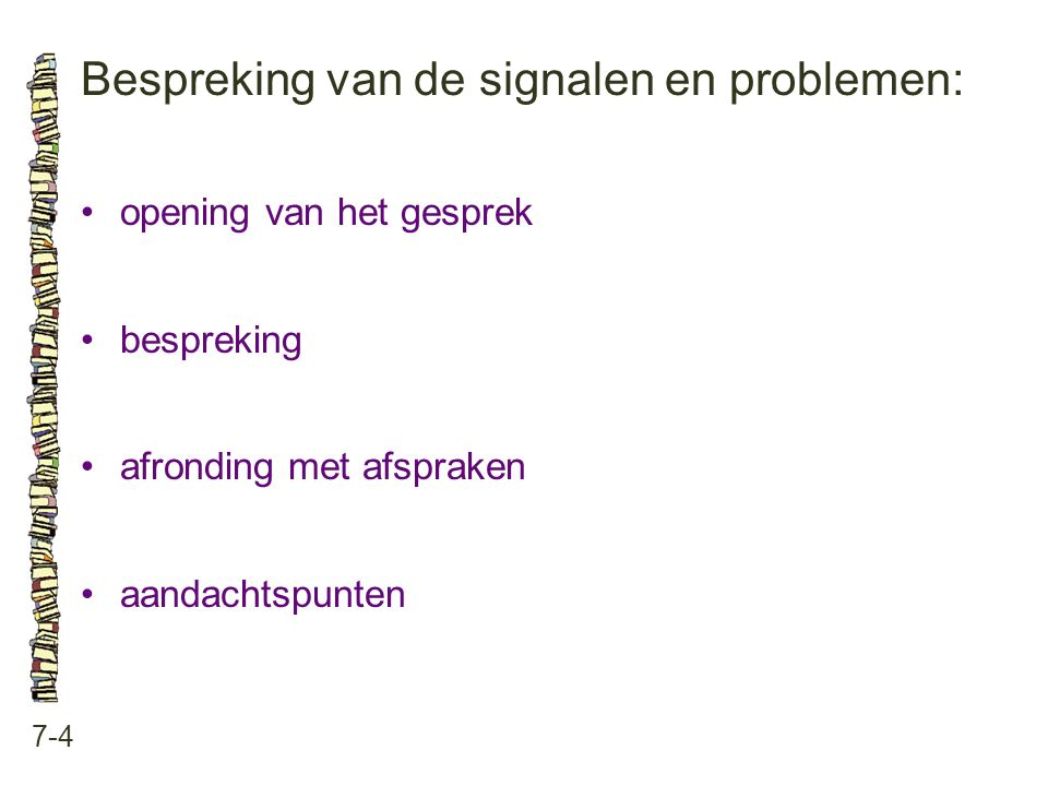 Bespreking van de signalen en problemen: