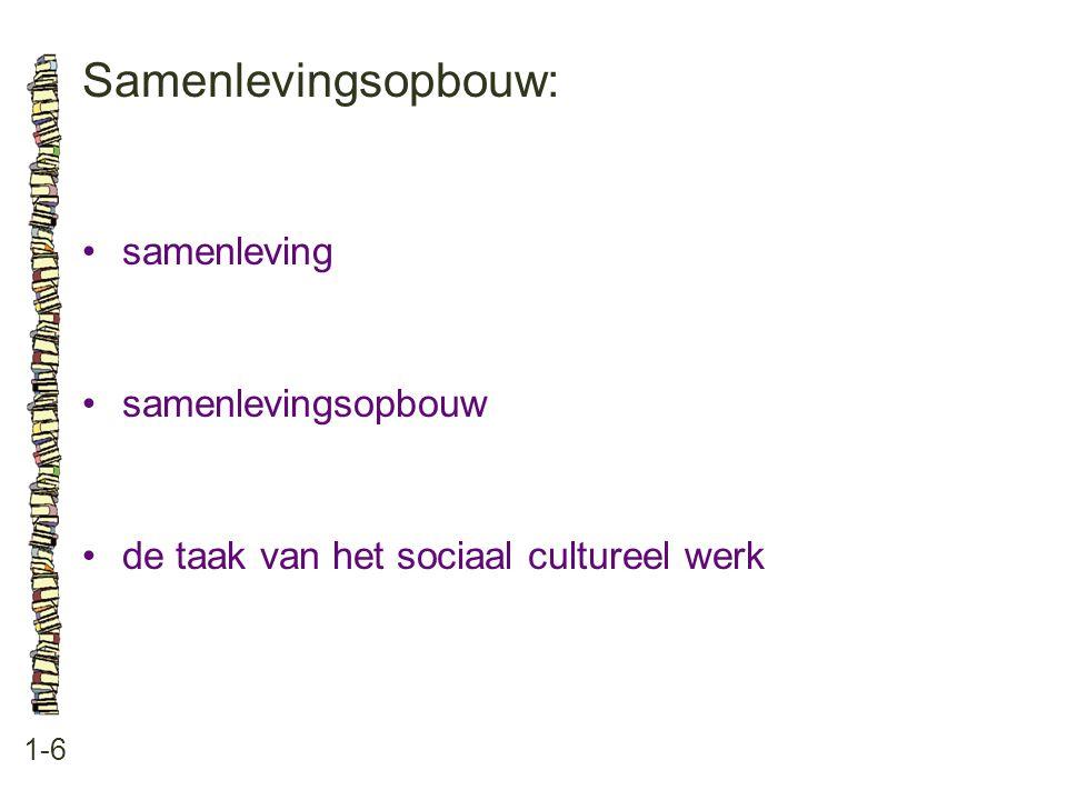 Samenlevingsopbouw: • samenleving • samenlevingsopbouw