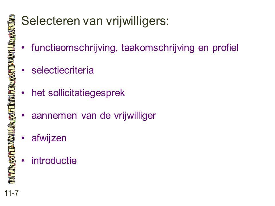 Selecteren van vrijwilligers: