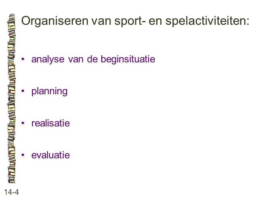 Organiseren van sport- en spelactiviteiten: