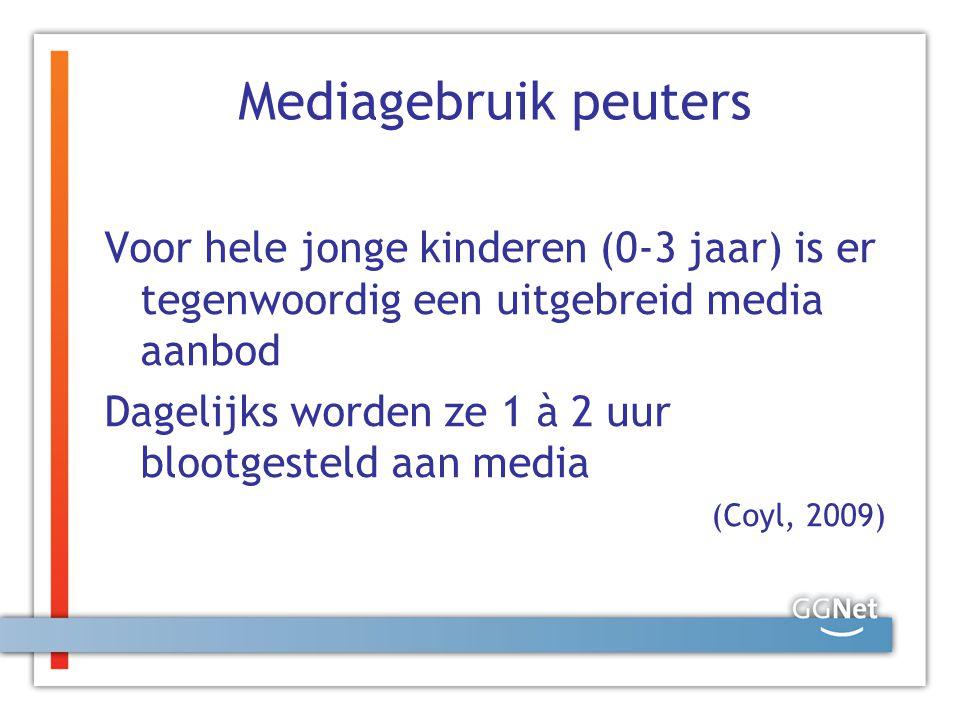 Mediagebruik peuters Voor hele jonge kinderen (0-3 jaar) is er tegenwoordig een uitgebreid media aanbod.